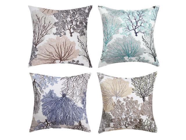 Linen Pillow Covers Square Geometric Patterns Throw Pillow Cases