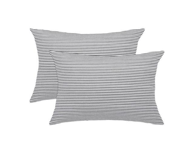 Admirable Woven Striped Throw Pillow Covers Set Of 2 Decorative Square Farmhouse Cushion Covers For Sofa Bedroom Car Chair 18X18 Inch Black White Gmtry Best Dining Table And Chair Ideas Images Gmtryco