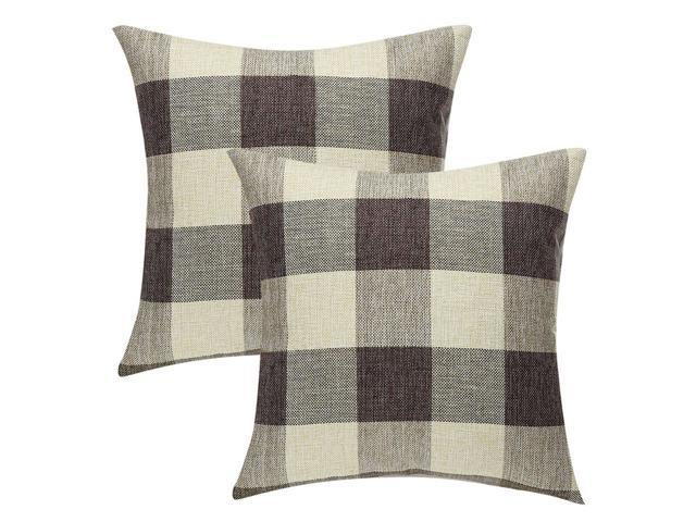 Buffalo Check Plaid Throw Pillow Covers Cotton Linen Clic Retro Farmhouse Square Cushion Cases For Sofa Bedroom Car 22 X Inch Pack Of 2 14
