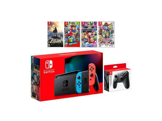 2019 New Nintendo Switch Neon Red Blue Joy Con Console Set Pro