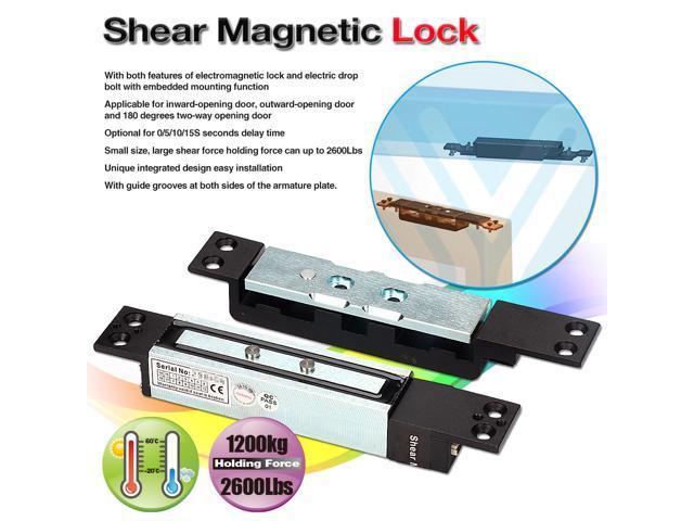 Shear Electric Magnetic Door Lock DC 12V Time Delay Holding Force 1200KG on