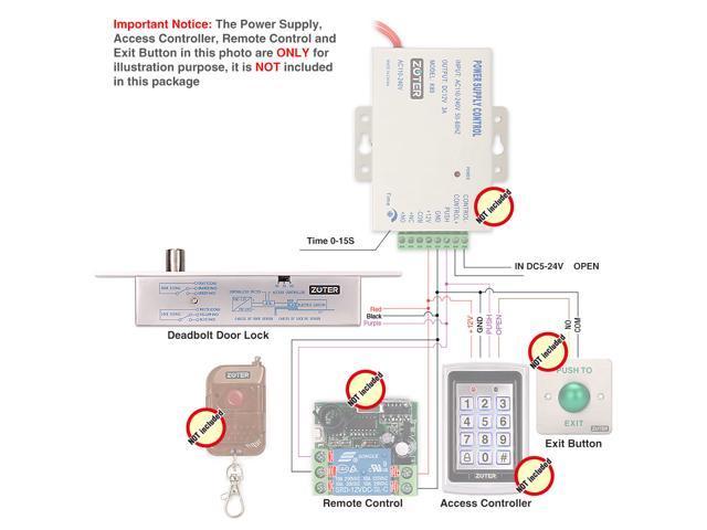 ZOTER Electric Drop Bolt Deadbolt Strike Timer Lock Fail Secure NO Mode 12V  24V For Door Entry Access Control System - Newegg com