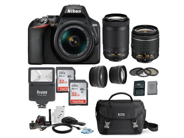 Nikon D3500 DSLR Camera with 18-55 and 70-300mm AF-P DX Lenses and 64GB  Bundle - Newegg com