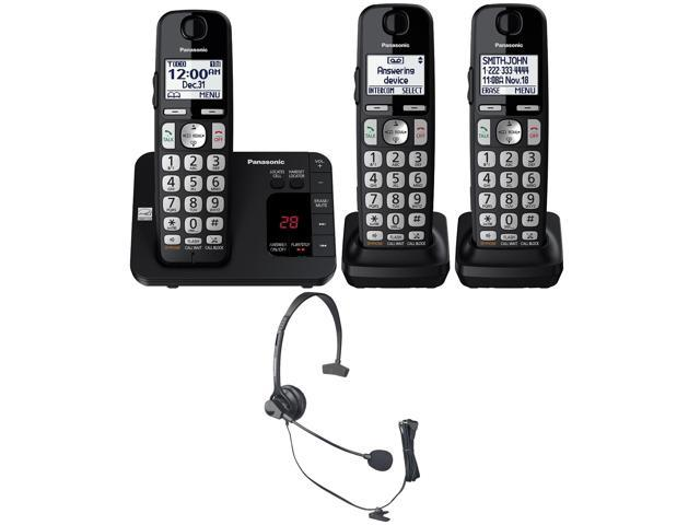 Panasonic Kx Tge433b Cordless Phone W Answering Machine 3 Handsets Headset Newegg Com