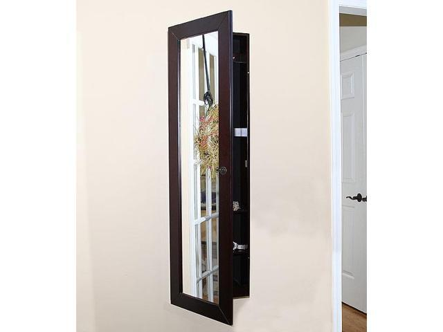 Pebble Beach Espresso Jewelry Armoire Wall Mounted Mirror Msrp