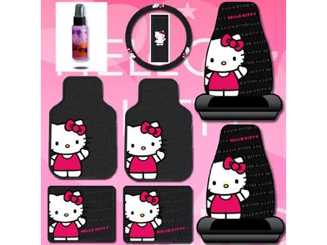 8 Pieces Hello Kitty Car Seat Cover With 4 Rubber Mats Steering Wheel And