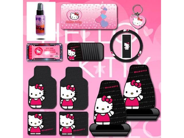 12 Pieces Hello Kitty Car Seat Cover With 4 Rubber Mats License Plate Frame