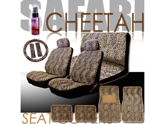 New 16 Pieces Safari Cheetah Print Low Back Front Car Seat Covers Rear Bench Cover