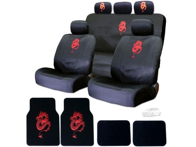 15 Piece Auto Interior Gift Set - Dragon Red - 2 Front Seat Covers ...