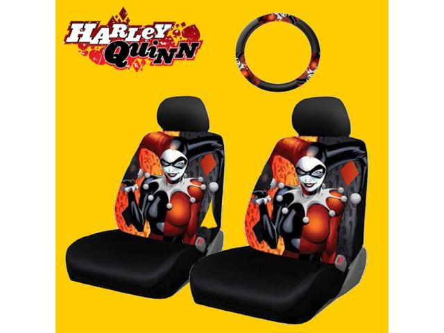 New Design 6 Pieces DC Comic Harley Quinn Car Seat Covers And Steering Wheel Cover Set
