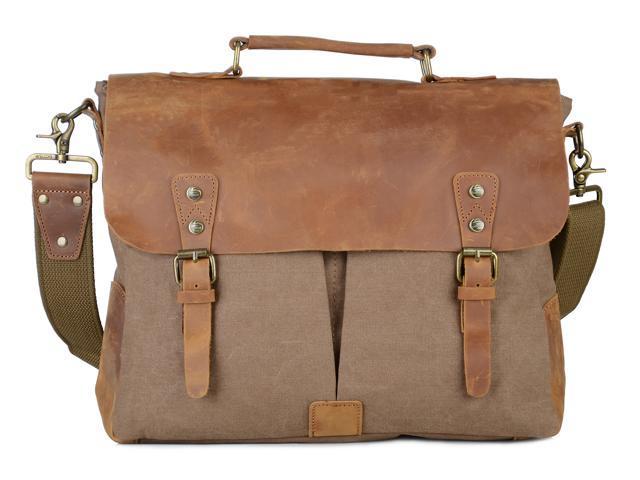 99044f6a16 Gootium 21108BR-L Vintage Canvas Real Leather Messenger Bag 15.6