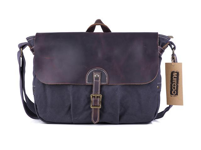 a1b767ae3 Gootium Canvas Leather Messenger Bag Vintage Shoulder Bag Mens Satchel, Fit  Laptop Up To 15