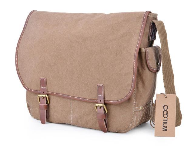 081af2bf32d1 Gootium 51029CF Vintage Military Canvas Messenger Bag Men s Shoulder Bag ( Coffee)