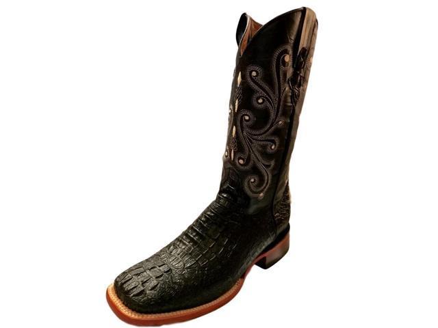7f83d9bae8a Ferrini Western Boots Mens Caiman Gator Cowboy 9 EE Black 40393-04 -  Newegg.com