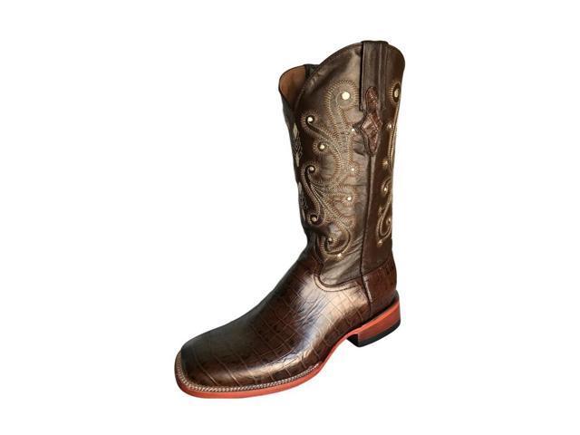85709d95b5f Ferrini Western Boots Mens Caiman Gator Cowboy 8.5 D Brown 40793-09 -  Newegg.com