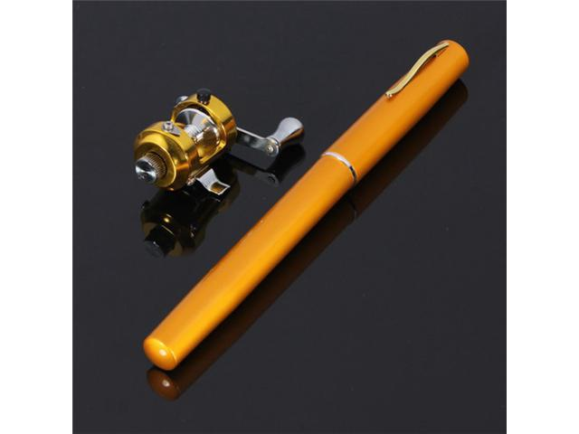 Mini Portable Travel Pocket Fish Pen Shape Aluminum Alloy Fishing Rod Pole + Reel Combos