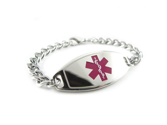 Bariatric Surgery Medical Alert Bracelet Curb Chain Purple Pre Engraved
