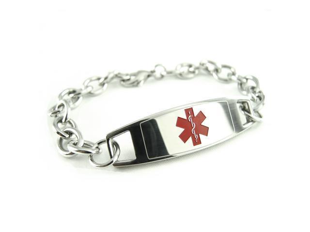 My Identity Doctor Pre-Engraved /& Customizable Pacemaker Alert Bracelet Pink Symbol Oval Links