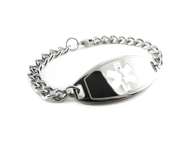 Dnr Medical Alert Bracelet White Curb Chain Pre Engraved