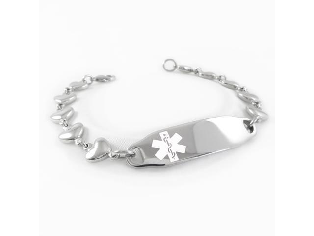 Medical Alert Bracelet >> Heart Angina Medical Alert Bracelet Heart Chain White Symbol Pre Engraved Oem Newegg Com