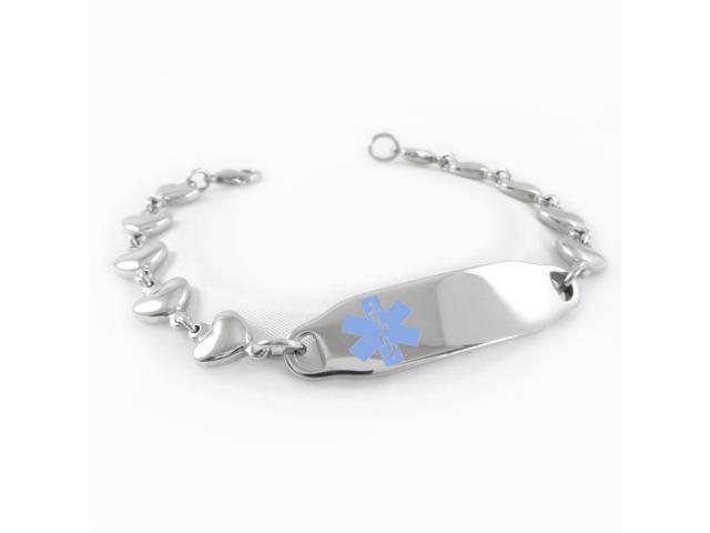 Taking Coumadin Medical Alert Bracelet Heart Chain Light Blue Symbol Pre Engraved