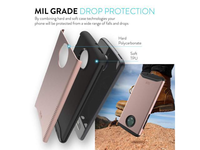 Motorola Moto Z4 Case Tudia Slim Fit Merge Series Extreme Protection Rugged Premium Dual Layer Precise Cutouts Phone Case For Motorola Moto Z4 Rose Gold Newegg Com