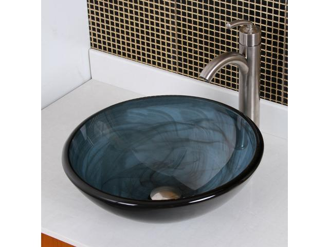 Charmant Elite Double Layered Clear Tinted Blue Tempered Glass Bowl Vessel Sink With  Smokey Black Swirls And Brushed Nickel Pop Up Drain And Mounting Ring   ...