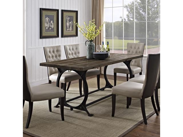 Effuse Wood Top Dining Table In Brown
