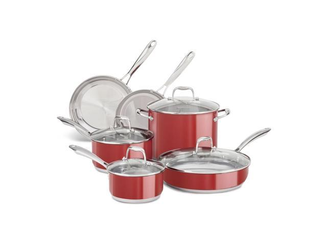 KitchenAid Stainless Steel 10-Piece Cookware Pots and Pans Set KCSS10ER Red  - Newegg.com