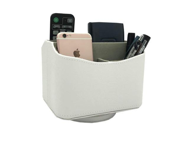 White 360 Degrees Rotatable Desk Organizer Spinning Controller Mail Caddy Holder