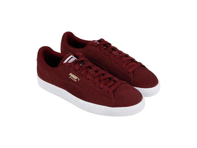 Puma Suede Classic + Mens Red Lace Up Low Top Sneakers