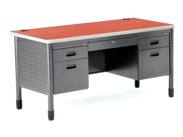 Metal Office Desk W Five Locking Drawers (Maple)