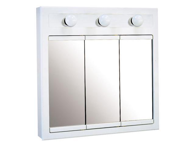 Design House 532374 Concord White Gloss Lighted Medicine Cabinet Mirror With 3 Doors And 2