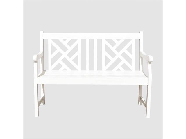 Bradley Eco Friendly Outdoor Wooden Garden Bench In White Neweggcom