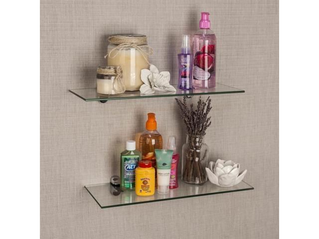 Wondrous Clear Floating Shelves In White Finish Set Of 2 Newegg Com Download Free Architecture Designs Embacsunscenecom