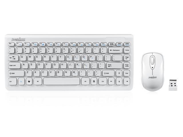 47f7b22bc7b Perixx PERIDUO-707W Wireless 2.4G Keyboard Mouse Set, 11 Hot Keys, Piano  White, Chiclet Keys Mini Keyboard Mouse Combo, Batteries Included