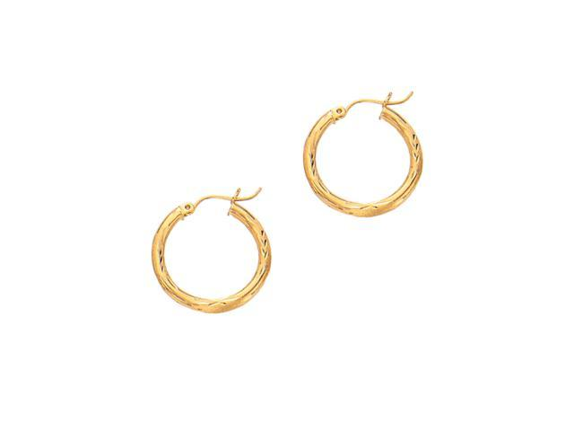 10K Yellow Gold 2X15mm Diamond Cut Round Tube Hoop Earring with with Hinged Clasp