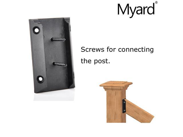 Myard PNP111902 Deck Railing Connectors with Screws for 2x4 5 Pairs, Black Inches Stair Wood Handrail Actual 1.5x3.5
