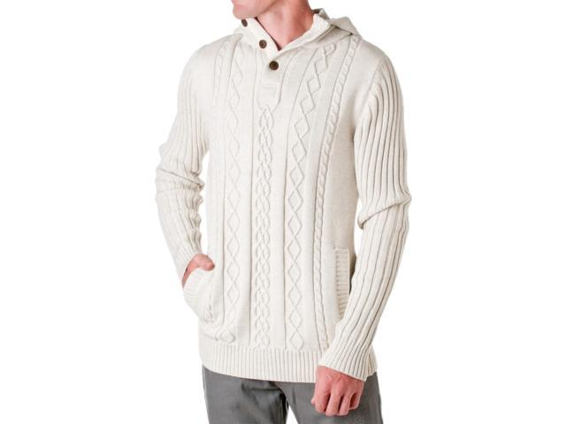 D Lux Mens Cotton Cable Knit Hooded Sweater Natural Size Small