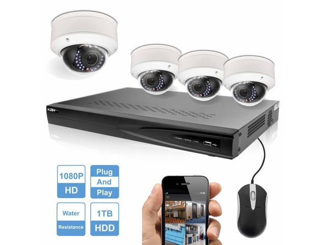 R Tech 4 X 2MP1080P High Defination Dome IP Cameras Security System