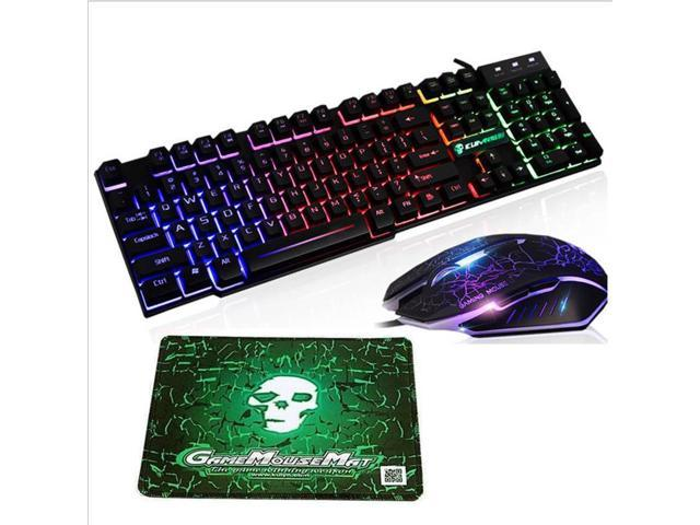 T6 Rainbow Backlit Usb Wired Gaming Keyboard Mouse Pad Set For Ps4 Ps3 Xbox Pc Newegg Com
