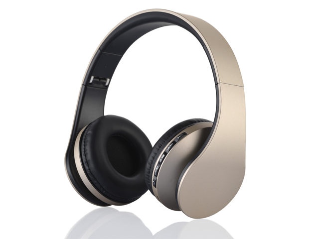 Bluetooth Stereo Headset Headphone With Fm Stereo Radio Wired Headphone Mp3 Player Answer End Calling Gold Black Color Newegg Com