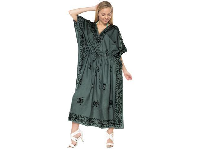 Grey RAYON Embroidery PLUS Size V Neck Casual Long Lounge wear Caftan Loose  maxi - Newegg.com