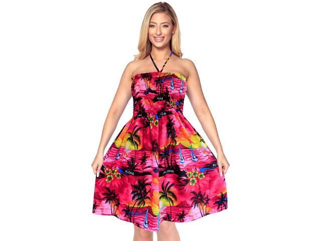 47e06209af Tube Top Dress Halter Neck Cover up Maxi Beachwear Womens Skirt Aloha Midi  Pinkf