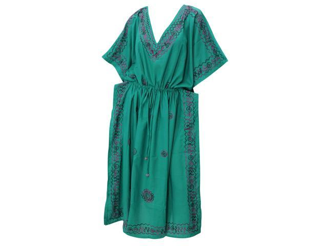 Soft Rayon Embroidered Dress Plus Size Night Casual Lounge Wear