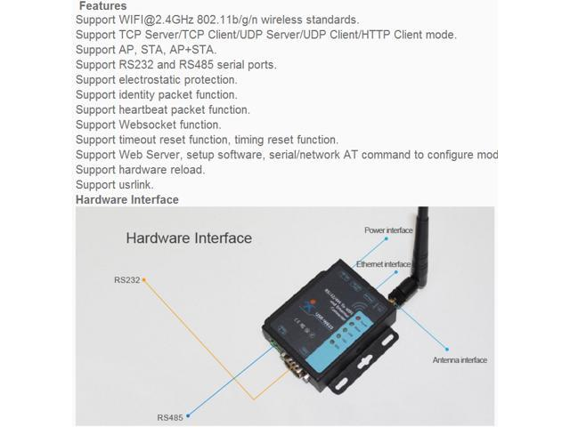 RS232 RS485 Serial To WiFi and Ethernet Converter USR-W610 Support TCP  Server/TCP Client/UDP Server/UDP - Newegg com