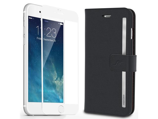 best cheap 0a3d1 6507a iPhone 6s Plus Case, roocase [Prestige Folio] iPhone 6s Plus Wallet Case  Cover Card Holder with Full Screen Cover Tempered Glass (White Edge) for ...