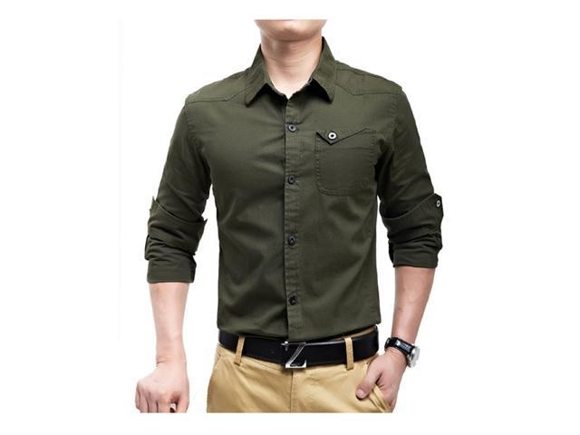 7301461c0 1PC Mens Fashion Army Slim Fit 100% Cotton Military Casual Dress Long  Sleeve Shirts New