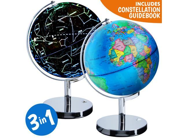 Illuminated Constellation World Globe For Kids 3 In 1 Interactive Globe With Constellations Light Up Smart Earth Globes Of The World With Stand Newegg Com