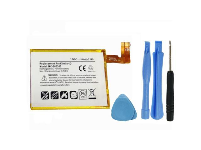 """Replacement 890mAh MC-265360, M11090355152, S2011-001-S, 515-1058-01  Battery for Amazon Kindle 4, 4G, 5, 6, D01100 E Ink 6"""" eReader with  Installation"""